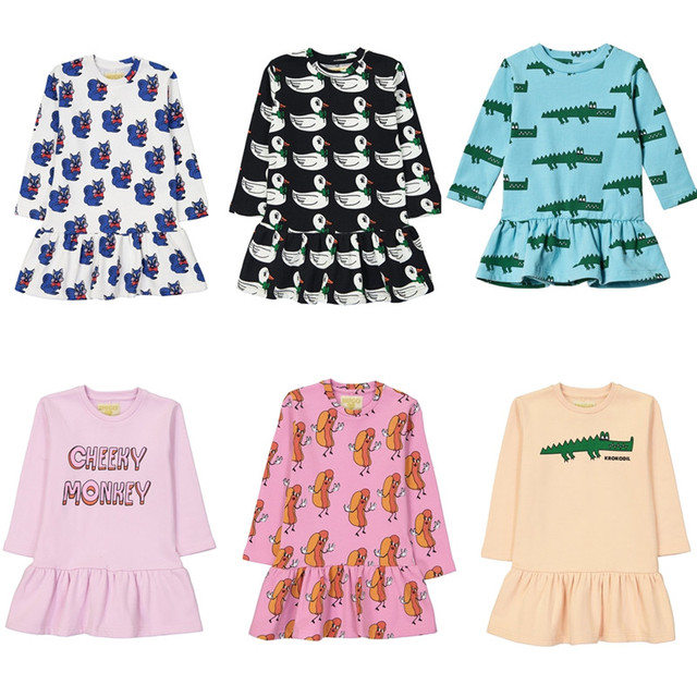 Детские платья для девочек 2018 Hugo Loves Tiki модная одежда для малышей рождественское теплое хлопковое платье для девочек Vestidos Bobo Choses