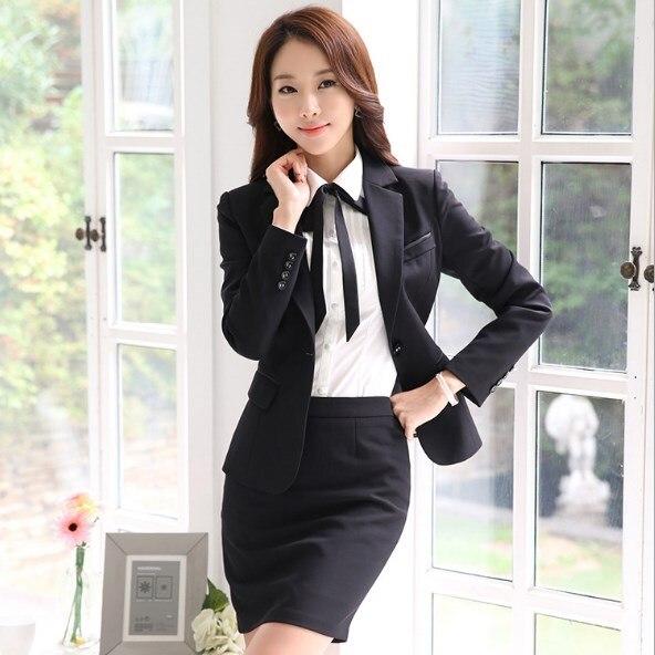 Women Office Uniform Skirt Suit Slim Fit Work Skirt Suits Black Grey Skirt Blazer Outfits Womens 2 Two Piece Skirt Sets