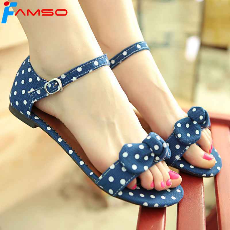 FAMSO Size34-44 2017 New Fashion Women Sandals buckle Print Canvas Shoes Flats Sandals Summer Female platforms Sandals FS382 vintage embroidery women flats chinese floral canvas embroidered shoes national old beijing cloth single dance soft flats