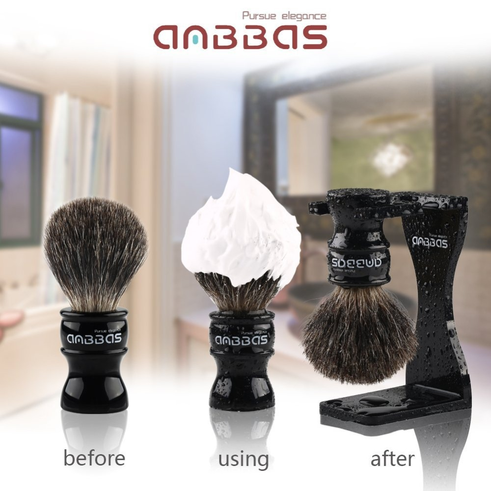 Купить с кэшбэком Anbbas 7Pcs Shaving Set Stainless Steel Straight Razor Folding Shaving Knife,Silvertip Badger Hair Brush, Stand, bowl,Soap,Strop