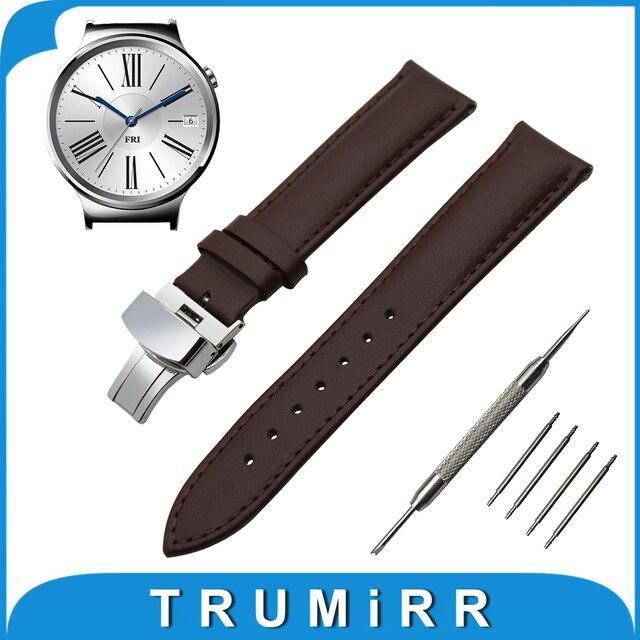 18mm banda de reloj del cuero genuino para huawei watch/fit honor s1 butterfly hebilla correa de pulsera pulsera de la correa negro marrón + herramienta