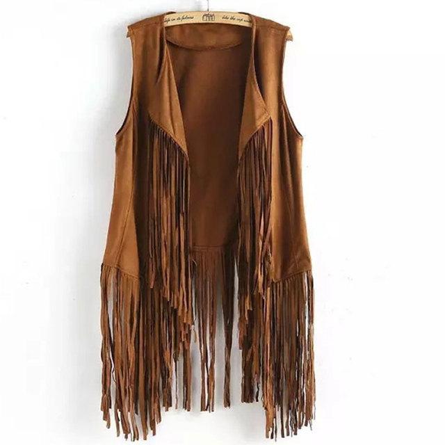 Chalecos Mujer Chaleco Colete Jeans Precio de Fábrica del Estilo de Europa de La Borla de La Nueva Ropa de Mujer Al Por Mayor Lbj9088 Suede Fringe Chaleco Chaqueta