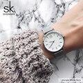 SK супертонкие Серебристые сетчатые часы из нержавеющей стали, женские часы от ведущего бренда, роскошные повседневные часы, женские наручн...