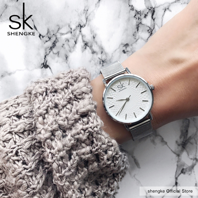 SK Super Slim Silver Mesh Stainless Steel Watches Women Top Brand Luxury Casual