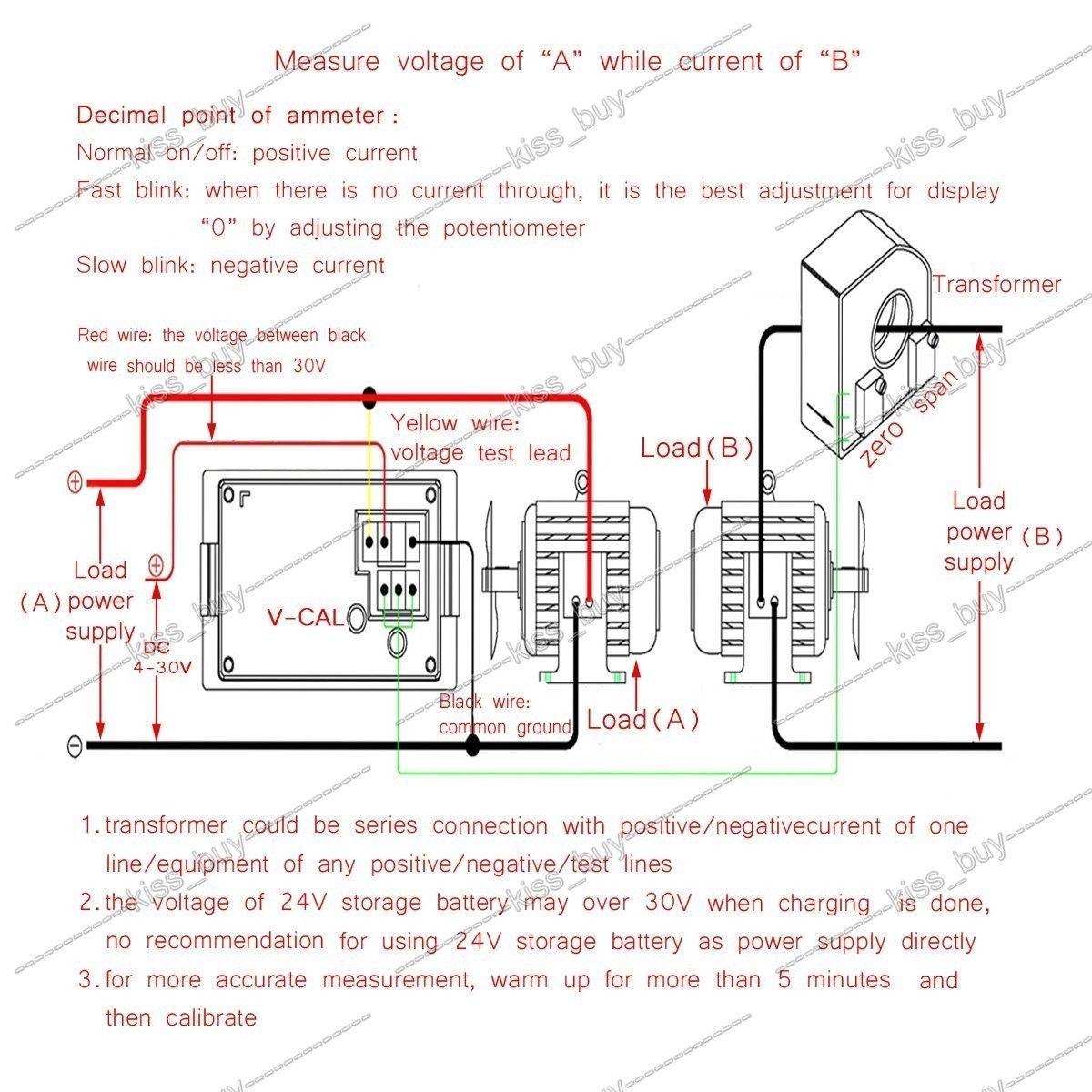 small resolution of dc 0 600v 100a volt amp meter dual display voltage current 12v 24v car