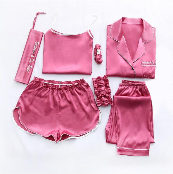 506be848b Fdfklak Home Clothes Sexy Pijama 7 Pieces Silk Pajamas For Women Night Suit  Sleepwear Sets Pyjamas Women Spring Summer Q1047-in Pajama Sets from  Underwear ...