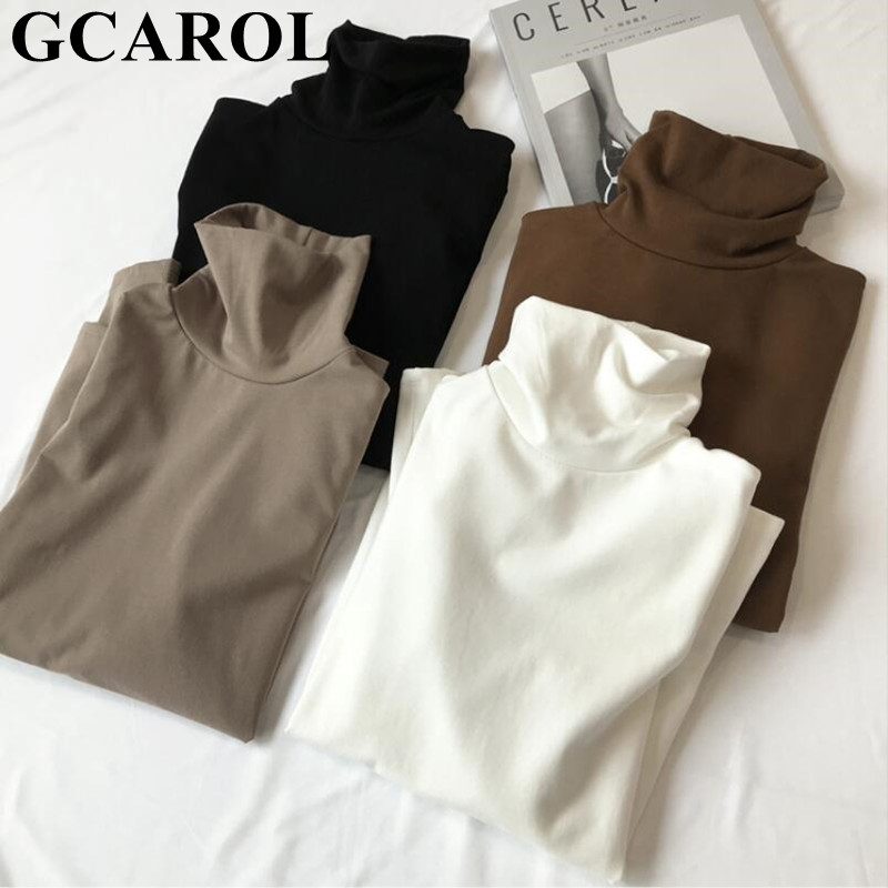 GCAROL New Arrival Fall Winter Women Turtleneck Basic Tops Slim Full Sleeve Shirt Stretch Vintage Render Unlined Upper Garment