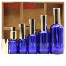 30/50/100 ml Essential oil Bottle With The Lid of The Gold, Blue Glass Empty Bot