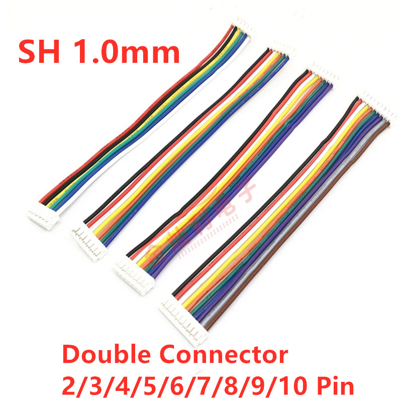 10Pcs Mini Micro SH 1.0mm 2P 3P 4P 5P 6P 7P 8P 9P 10Pin JST Double Connector Plug Wires Cables 100MM SH1.0