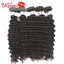 Wholesale price Indian Virgin Hair  5PCS Lot Indian Deep Wave Hair Unprocessed Human Hair 7A Grade Free shipping   Ms lula hair