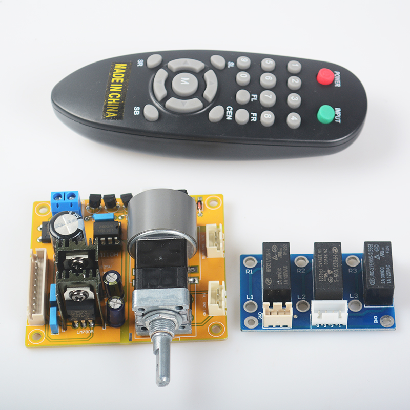 YJHIFI L9110H LCD Volume Dispaly Motor Potentiometer Remote Controller 2.0 Channel Pre-Amp Amplifier Board for Audio DIY