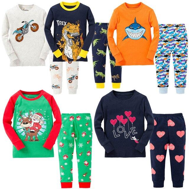 8b46fcf90d 100% Cotton Boys Santa Claus Christmas Pajamas Children s Sleepwear Baby  Dinosaur Night Wears Kids Pyjamas Pijamas PJS