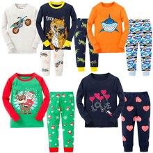 a9e83e1ce40a3 100% コットンボーイズサンタクロースクリスマスのパジャマ子供のパジャマベビー恐竜夜を着たパジャマ Pijamas PJS