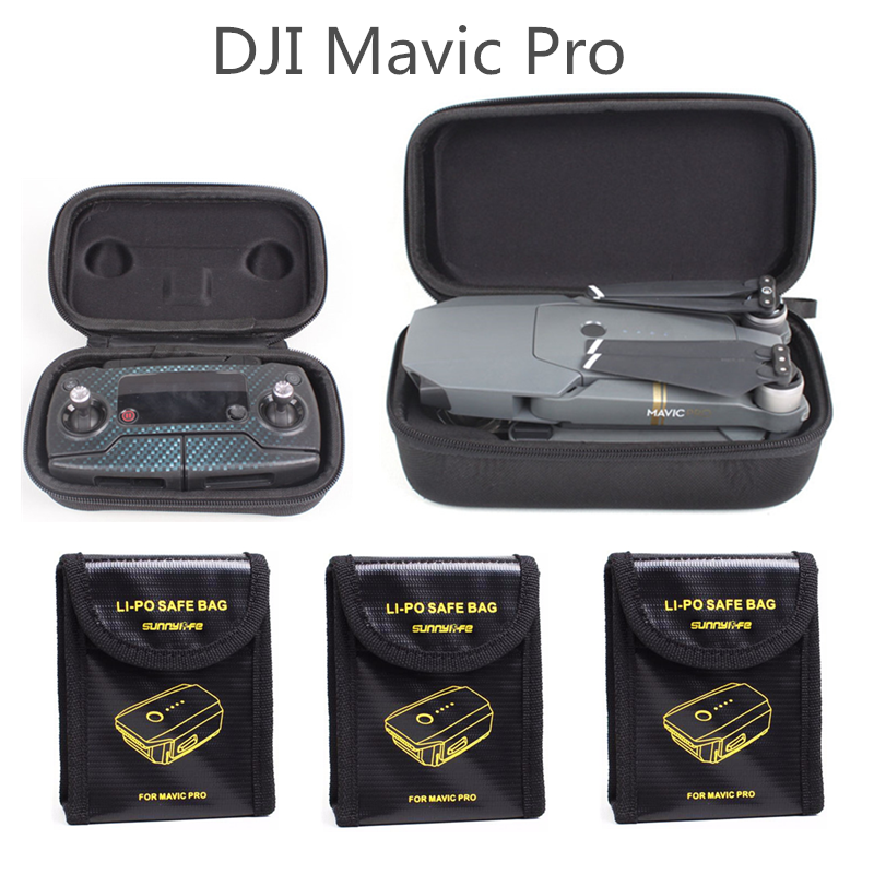 Sunnylife 5in1 DJI Mavic Pro Protection Case Combo LiPo Explosion-proof Battery Safety Bag + Drone Body Bag + Remote Control Box