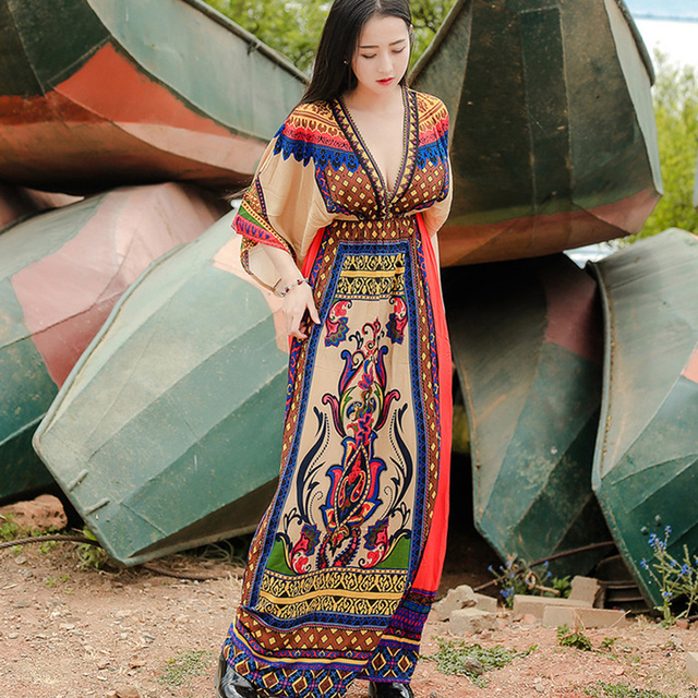 a84f6f98e5a S-XXL 2018 Sexy V-neck Beach Holiday Plus Size Ethnic Maxi Dress Women  Tunic Boho Casual Printed Long Vestidos De Fiesta B252