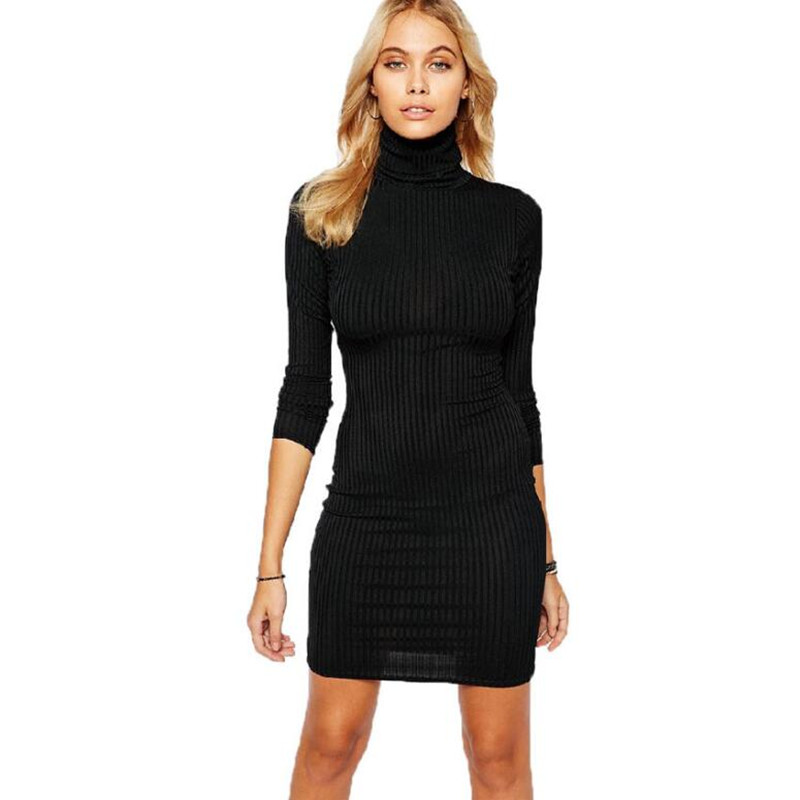dress women European and American new autumn and winter new high collar and slim long sleeve trench dress winter dress