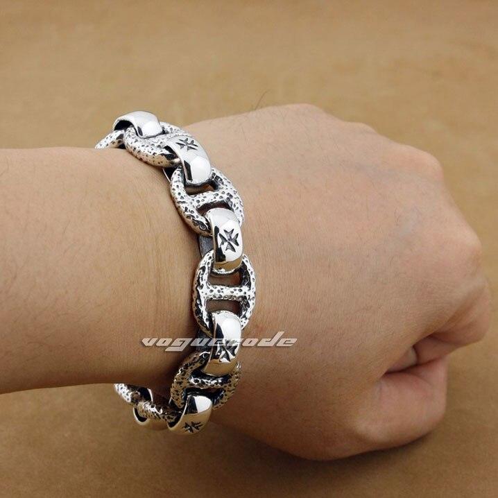 Punk Fashion Skull Chain Clasp Solid 925 Sterling Silver Cool Men S Biker Huge Heavy Lo Type Bracelet 8w006 8 5 12 1 In Link Bracelets From