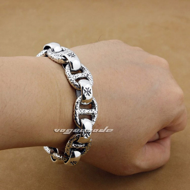 Punk Fashion Skull Chain Clasp Solid 925 Sterling Silver Cool Men S Biker Huge Heavy Lo Type