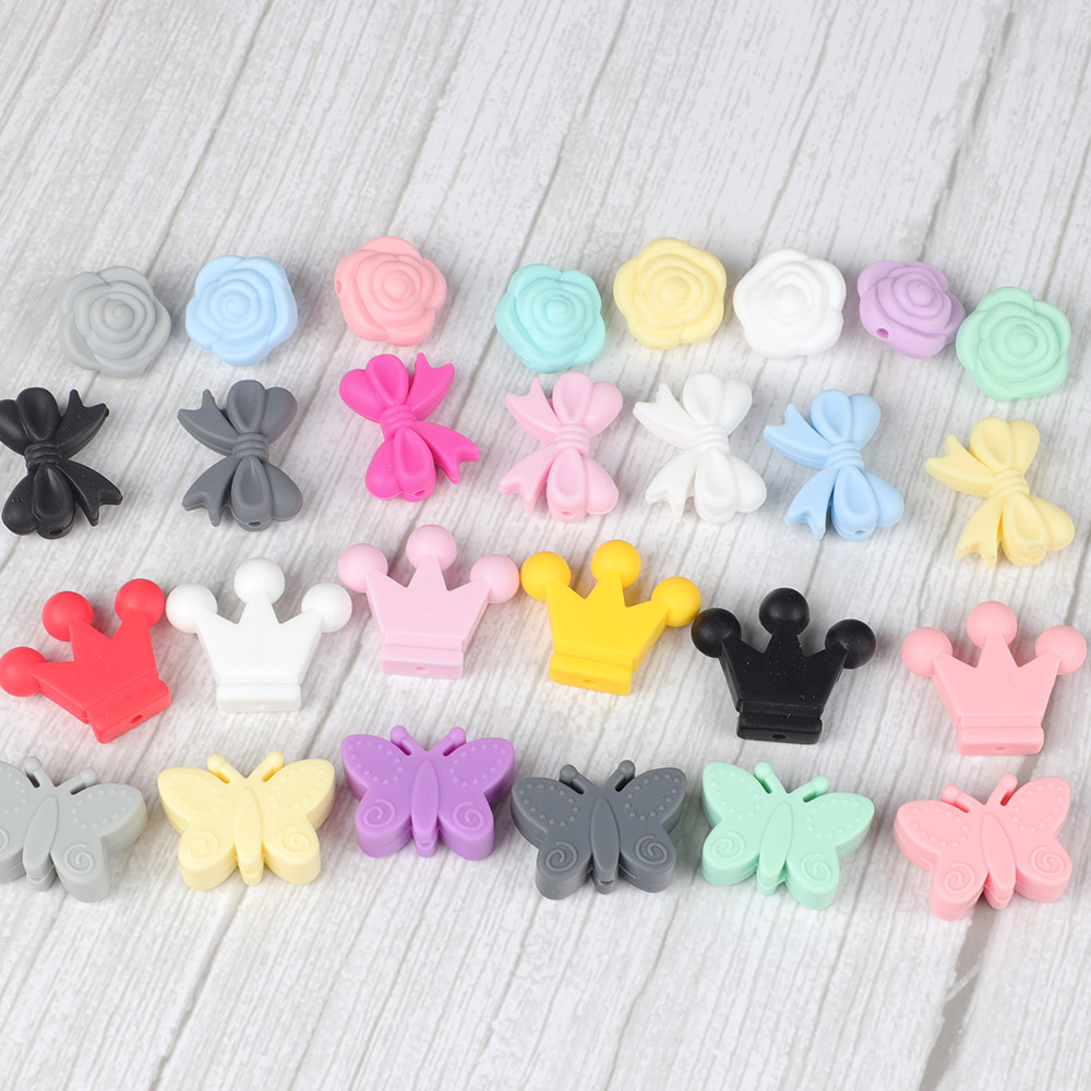 10pc/set Mini Silicone Beads DIY Baby Teether Pendant For Pacifier Chew Necklace Accessories Baby Teething Products