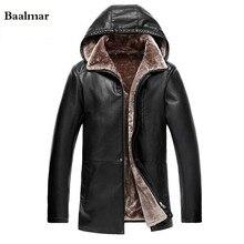 Free Shipping Winter Warm Long Men Leather Jacket Detachable Hood Men s Casual Outwear Fur Lining