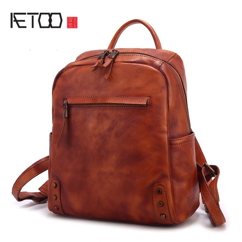 AETOO Autumn and winter new leather large capacity shoulder bag fashion retro wild cowboy male backpack travel bag aetoo retro leatherbackpack bag male backpack fashion trend new leather travel bag