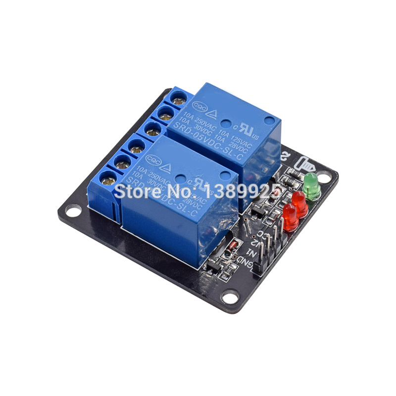 Free Shipping 10pcs/lot DC 5V Indicator Light LED Two 2 Channel Relay Module