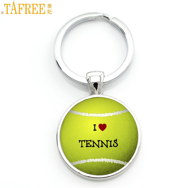 TAFREE brand design men women keychain I Love Tennis fashion sports lover key chain ring holder events teams gifts jewelry SP678