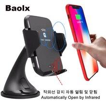 Automatische Auto Draadloze Opladen Infrarood Inductie Draadloze Oplader mobiele telefoon voor Samsung Note 8/5 S9 S8 S7 iPhone X 8 plus