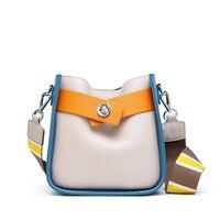 ICEV 2019 korean style genuine leather ladies messenger bags wide shoulder strap panelled shoulder bag cowhide handbag quality