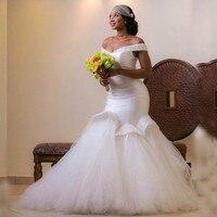 2018 Новая африканская мода сияющий Атлас Свадебные платья Русалочки подвенечные платья