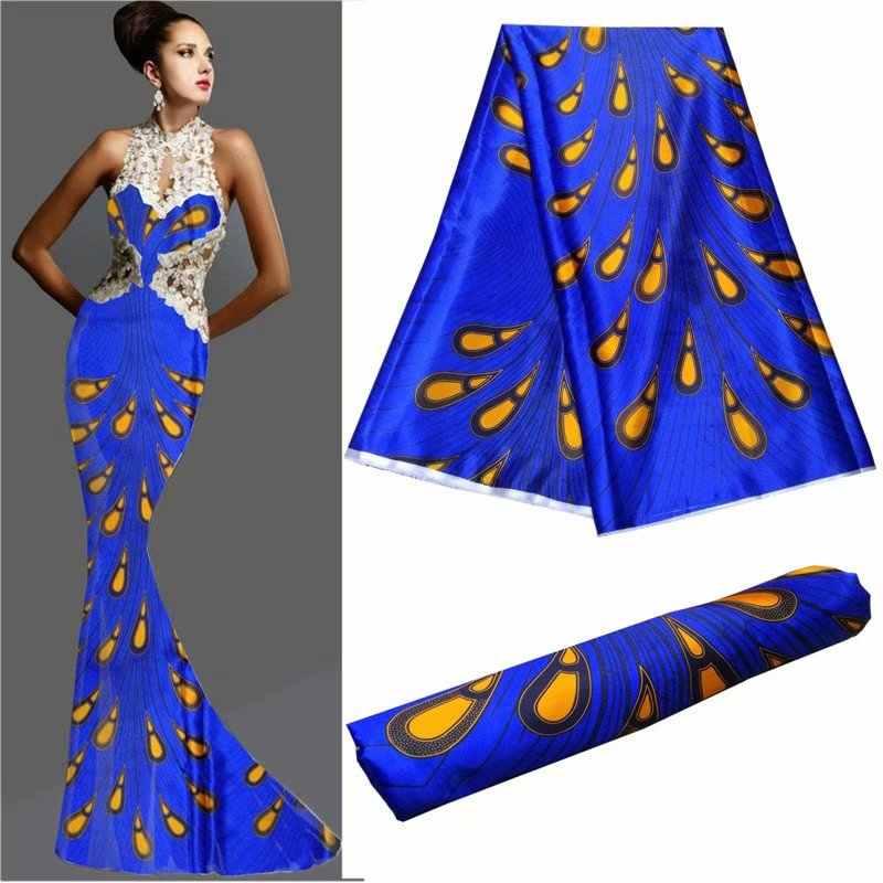 2018 новый шелк с цифровой печатью атласная ткань распродажа Африканский Воск узор эластичные атласная шёлковая ткань для платья 30