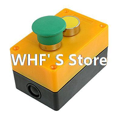 AC 240V 3A Green Mushroom Yellow Momentary Push Button Switch Station Box NO N/O green red yellow 3 flat push button momentary switch station
