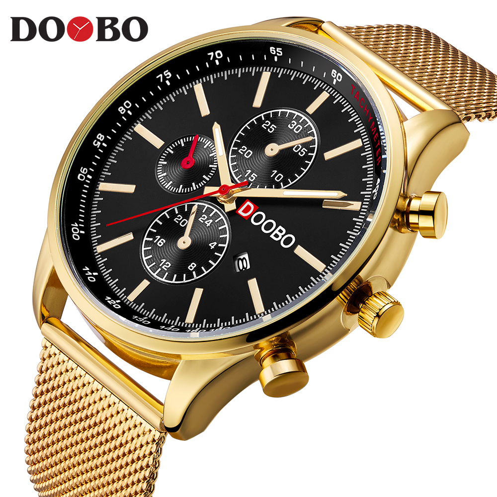 DOOBO Gold Watches Luxury Brand Men Watch Full Steel Mesh Fashion Quartz-Watch Casual Male Sports Wristwatch Date Clock Relojes