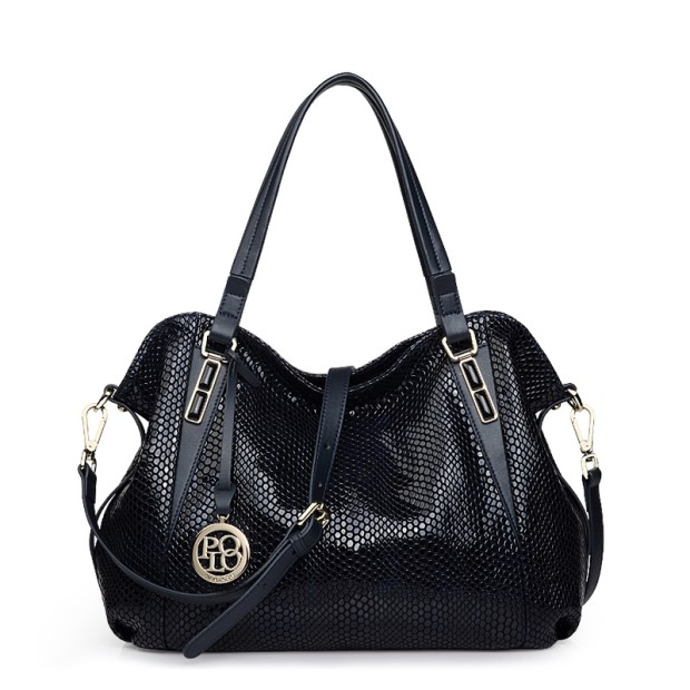 2017 big brand genuine leather bag women fashion snakeskin prints leather handbags female large shoulder bags hobos tote bag