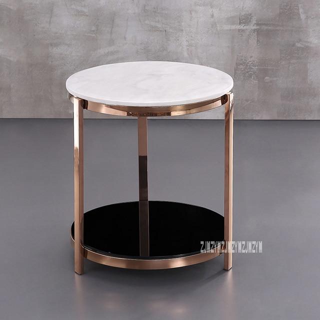 Modern Luxury Marble Top Tea Table Simple Living Room Bedroom Corner Sofa Side Small Round Coffee Stainless Steel Rack