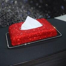 Car Tissue Box Rhinestone Crystal Auto Holder Block-type Styling Hand Made Diamante Bling Cover