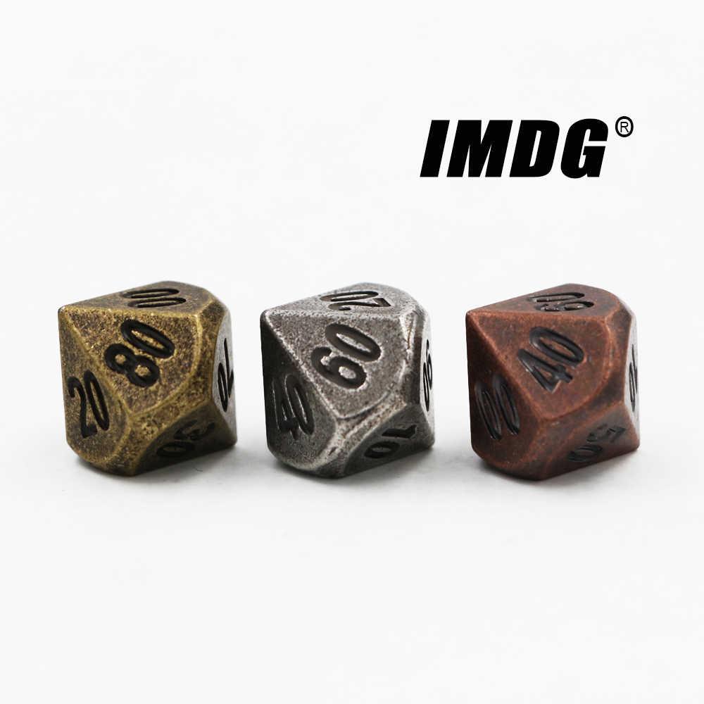 1 pièces D10 (00-90) polyèdre RPG dés 10 côtés accessoires métal dés mdn couleur différente jeu numérique dés