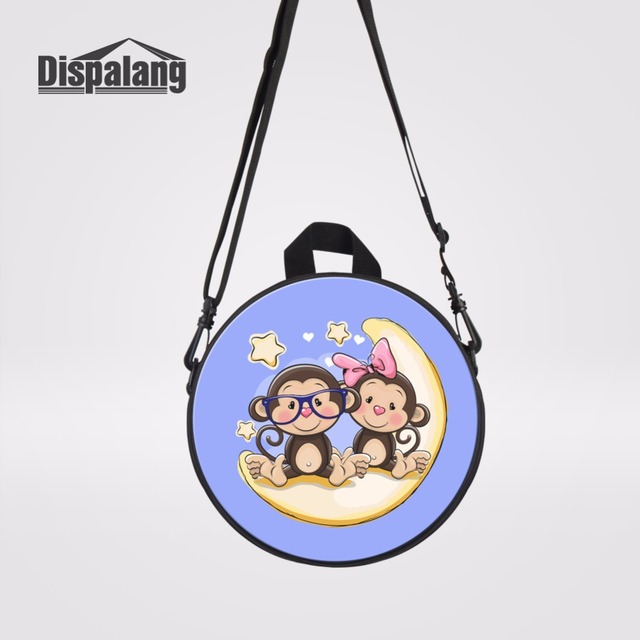 Dispalang Fashion Women Messenger Bags Cartoon Monkey Moon Shoulder Bag  High Quality Crossbody Round Handbag Kids Schoolbags