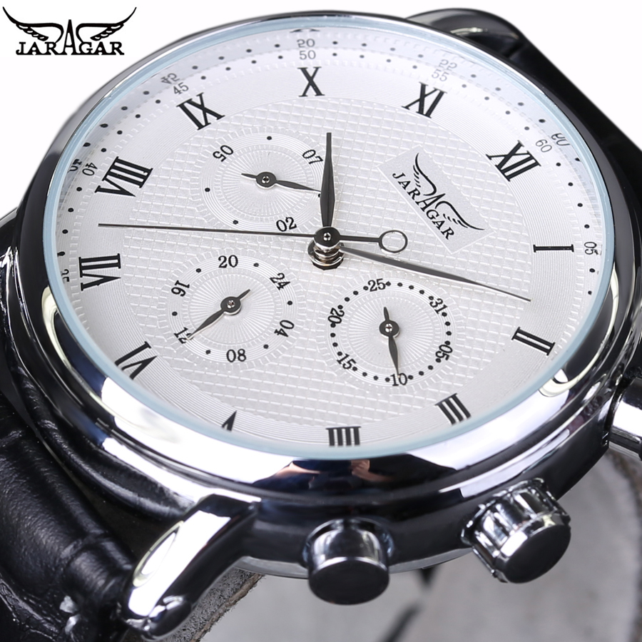 2018 New Luxury Brand JARAGAR Automatic Mechanical Self-Wind 24 Hour Week Date Roman Index Dial Business Men Watches mike davis knight s microsoft business intelligence 24 hour trainer