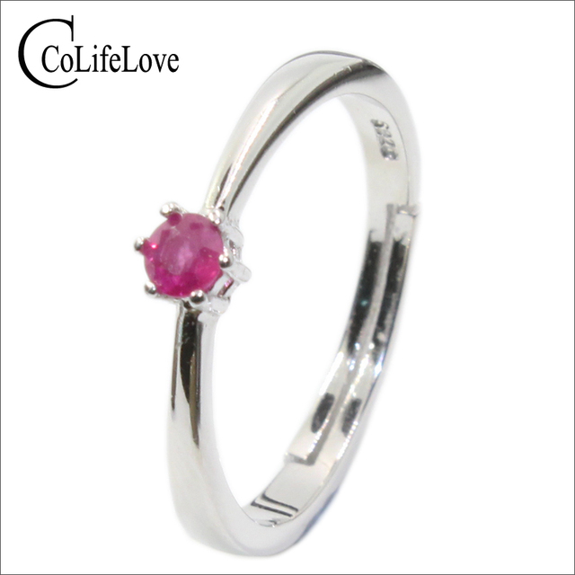 Classic engagement ruby ring 0.2 ct natural ruby silver ring solid 925 sterling silver ruby ring romantic brithday gift for girl