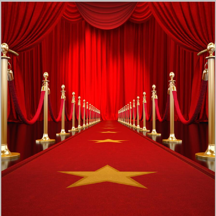 party backdrops High quality Computer print Red Carpet Gold Star Entrance Curtain Drape Rail Passage Stage background
