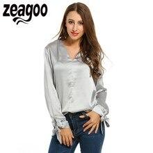 Zeagoo Твердые Рубашка V-образным Вырезом Работы С Длинным Рукавом Свободные Пуловер Блузка Топы Весна Осень Женщины Элегантный Основной Офис Блузка