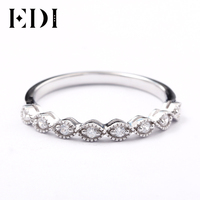 EDI 14kt White Gold Stackable Band Ring Fine Jewelry For Women 585 Solid Gold Natural Real Diamond Infinity Ring Dainty Ring