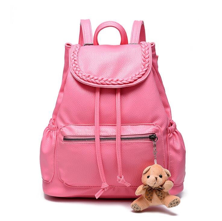 2017 Fashion Women Backpack PU Leather Backpack Mochila Feminina Mujer White Black School Bags Rucksacks For