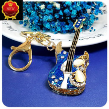 New Car Key Mini Diamond Guitar Chain hanging Ring Jewelry Hangingbag Accessories Rings Ornament Girl