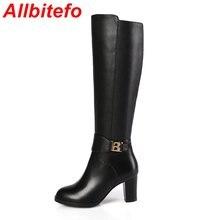 ALLBITEFOยูโรขนาด33-44แฟชั่นรองเท้าสูงเข่าหนังแท้+ PUผู้หญิงบู๊ทส์2017ใหม่มาถึงในช่วงฤดูหนาวที่อบอุ่นรองเท้าฝนbotas