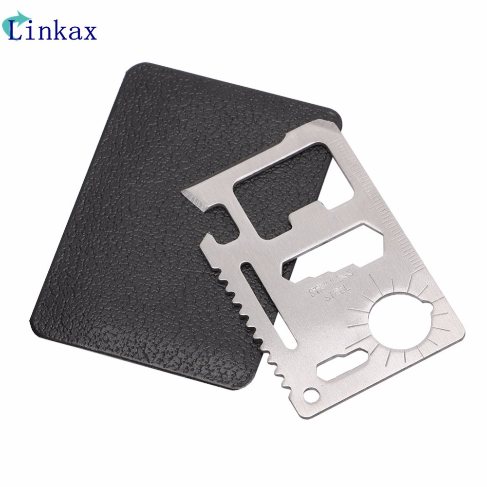 Multi Tools 11 in 1 Multifunction Outdoor Hunting Survival Camping Pocket Military Credit Card Knife Silver sap 0237