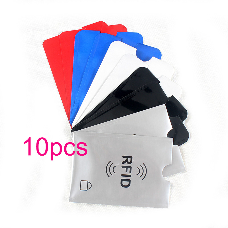 10pcs Colorful Anti Rfid Wallet Blocking Reader Lock Bank Card Holder Id Card Case Protection Metal Credit Card Bag Aluminium