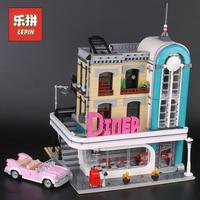Lepin 15037 City Building Dream House the Downtown Diner Set 10260 Model Building Kits Blocks Bricks Legoinglys Children Toys
