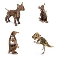1 bộ = 4 cái 3D Chihuahua Dog Chim Cánh Cụt Bộ Xương Khủng Long Mô Hình Động Vật Giấy Jigsaw Puzzle Sáng Tạo Gói Quà Tặng Giáo Dục Kid Toy